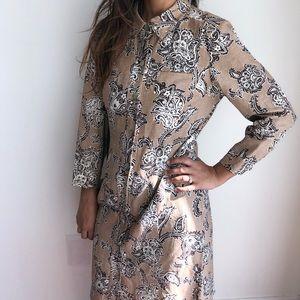 Kasper linen blend paisley floral pint tunic dress
